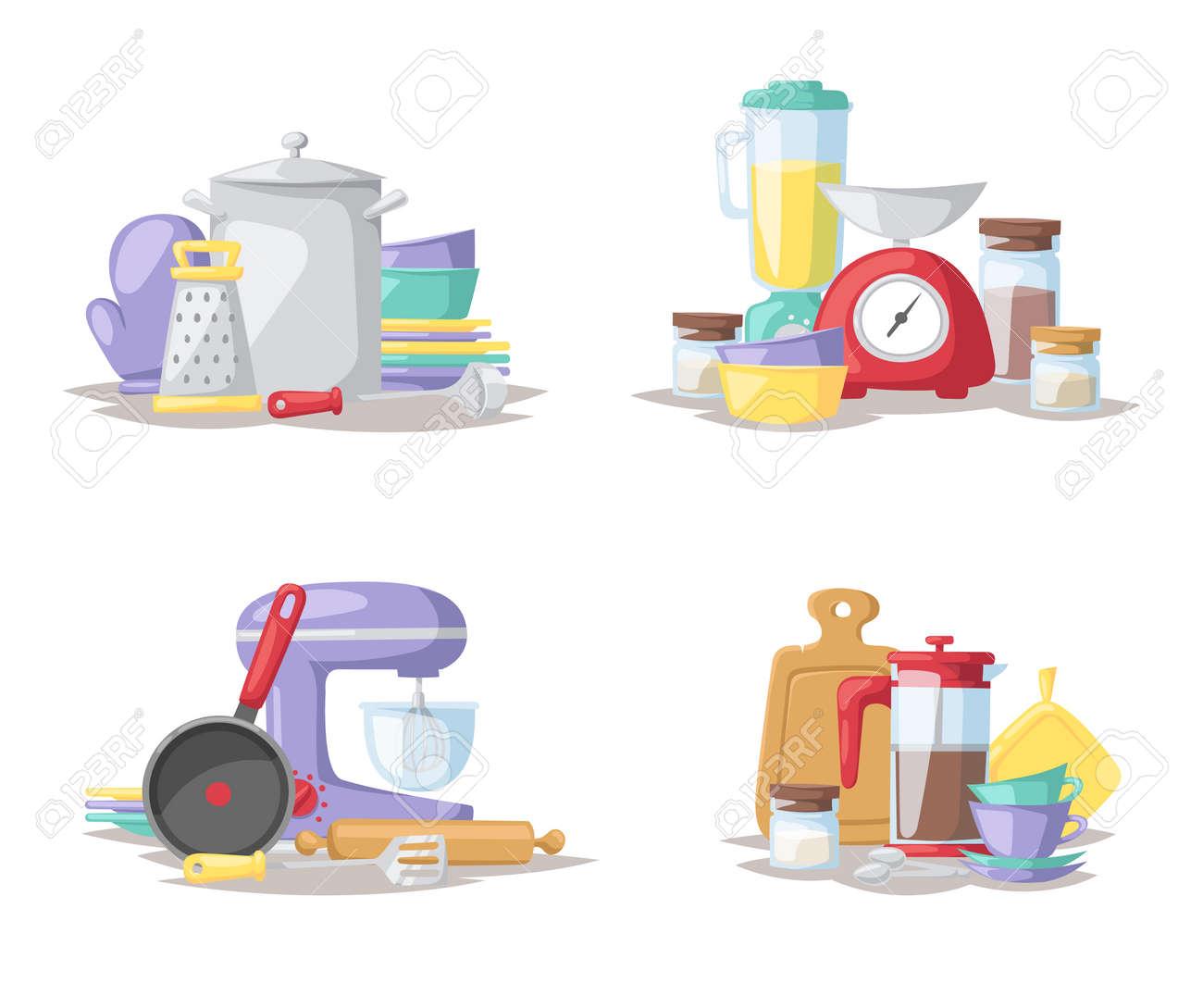 Küche Zubereitung Von Speisen Werkzeuge Und Küchengeräte Sammlung ...