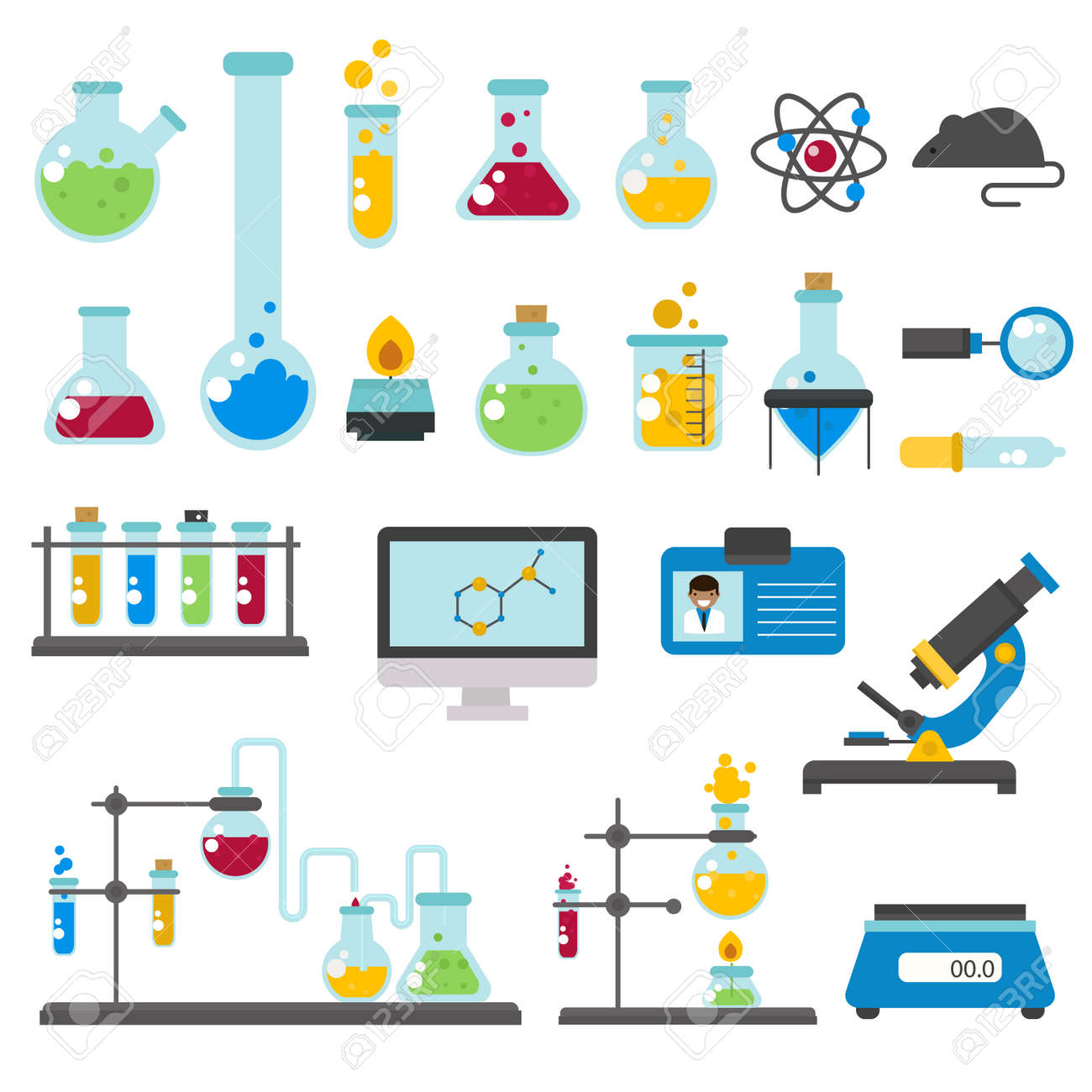 Chemical Laboratory Equipment And Medical Tools Vector Graphic Set Science