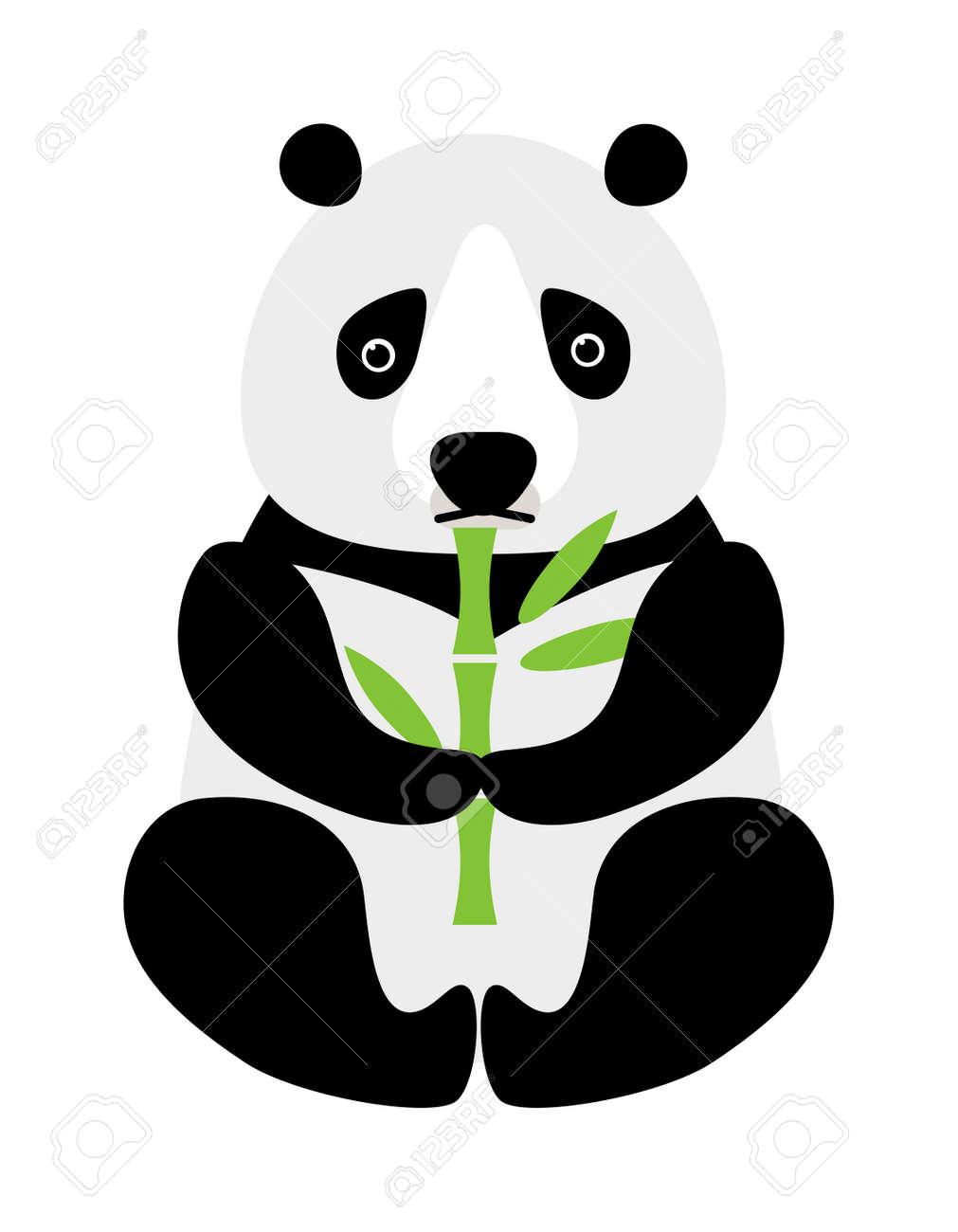 Vettoriale seduto piccolo panda simpatico cartone animato con