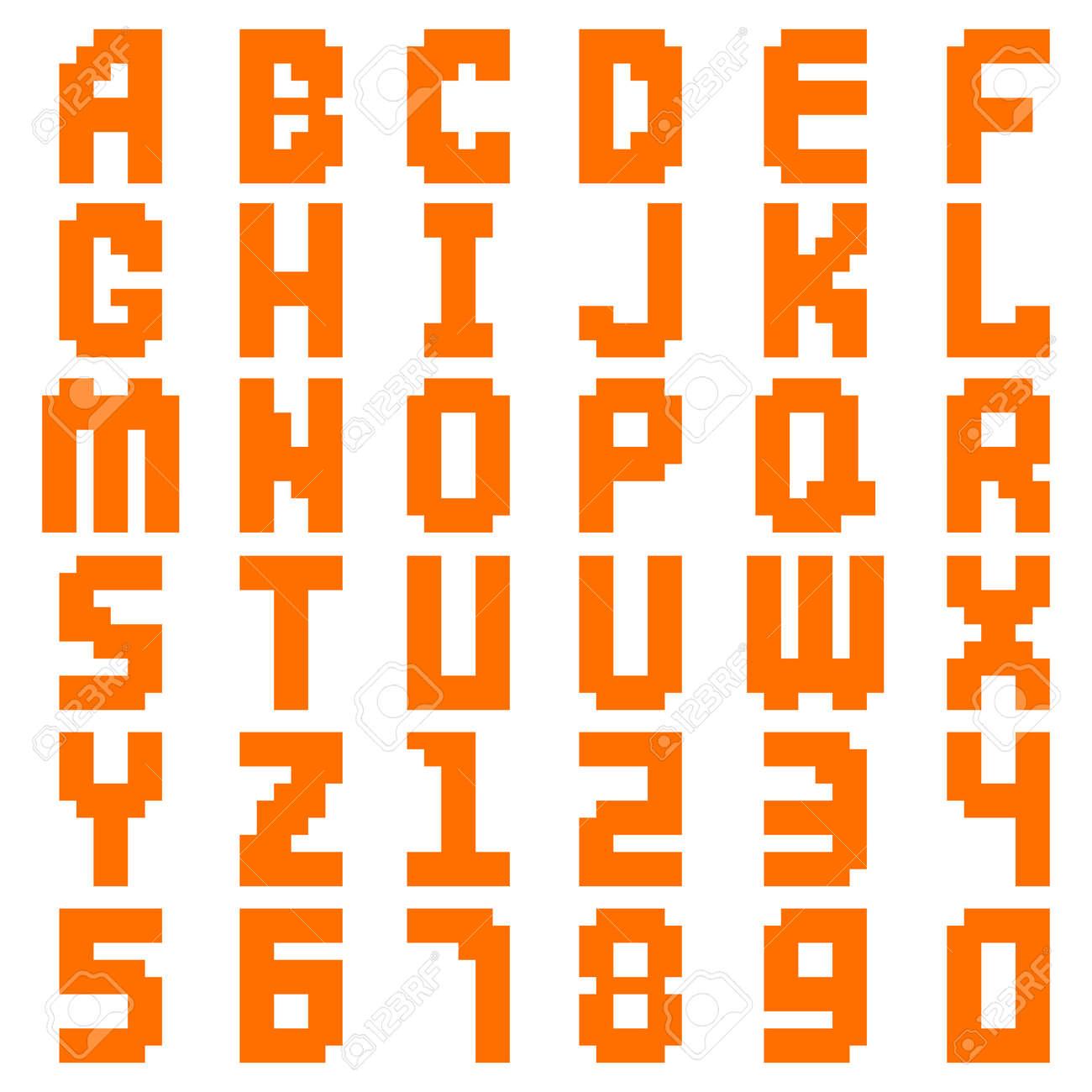 Pixel alphabet digital type text symbol and pixel modern color