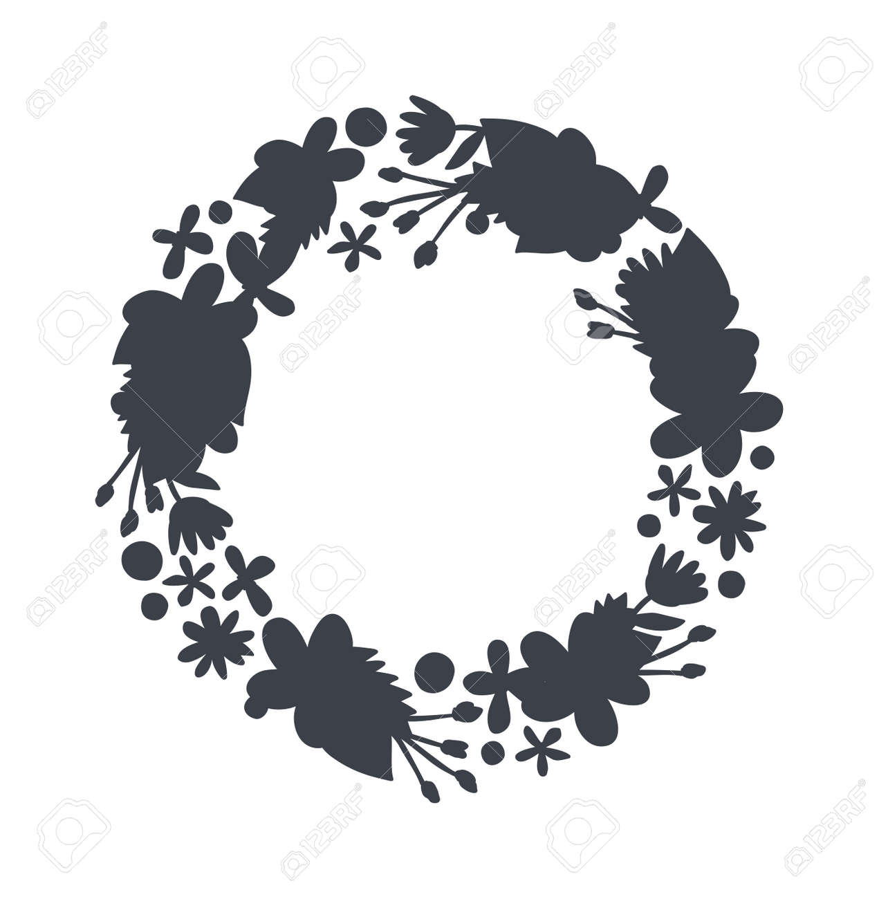 Spring Black Wreath Frame And Vintage Silhouette Design Vector Circular Floral Wreaths With