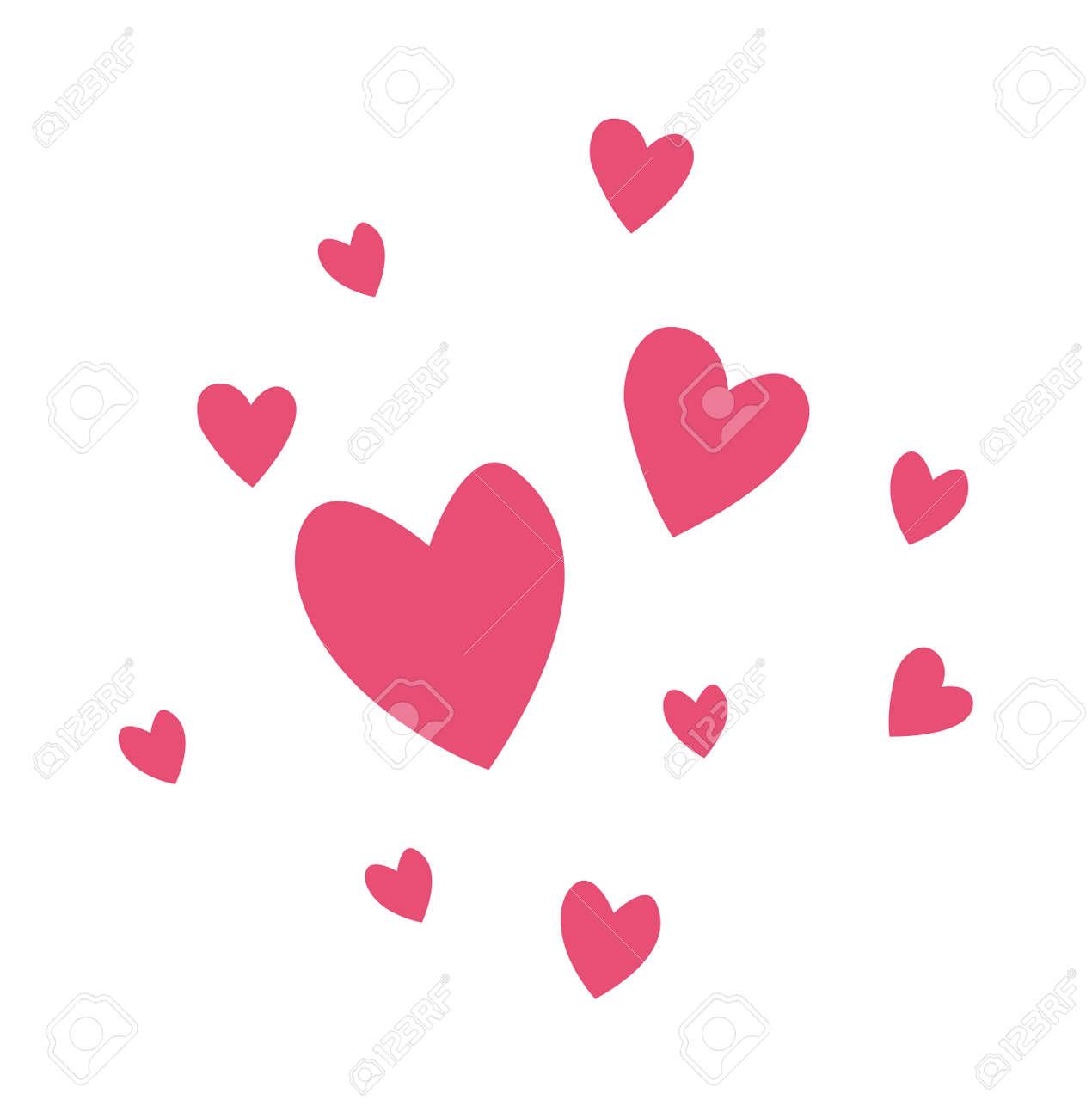 Hearts passion and romance red hearts. Greeting hearts cartoon love symbols. Hearts decoration wedding