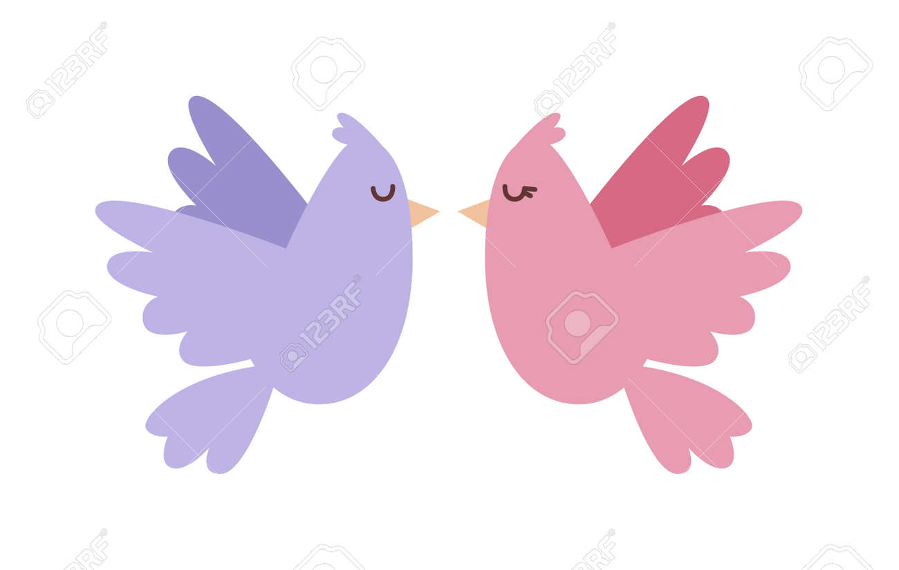 Doves Couple With Hearts Vector Icon Illustration. Dove Cartoon ...