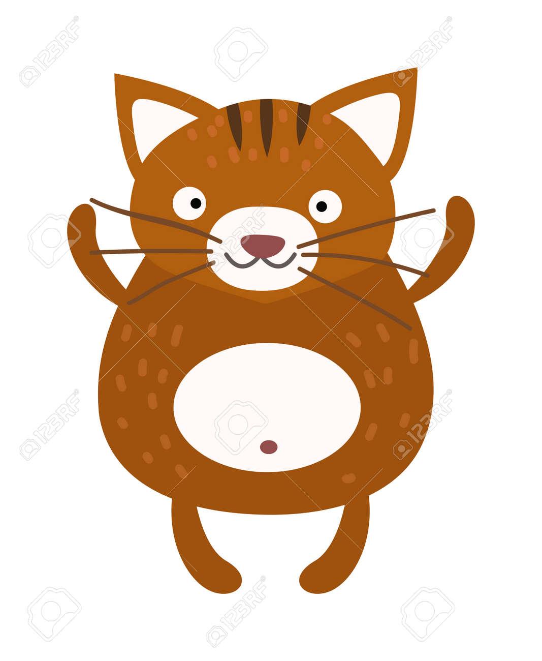Gato De Dibujos Animados De Color Marrón Y Gato Doméstico De Dibujos