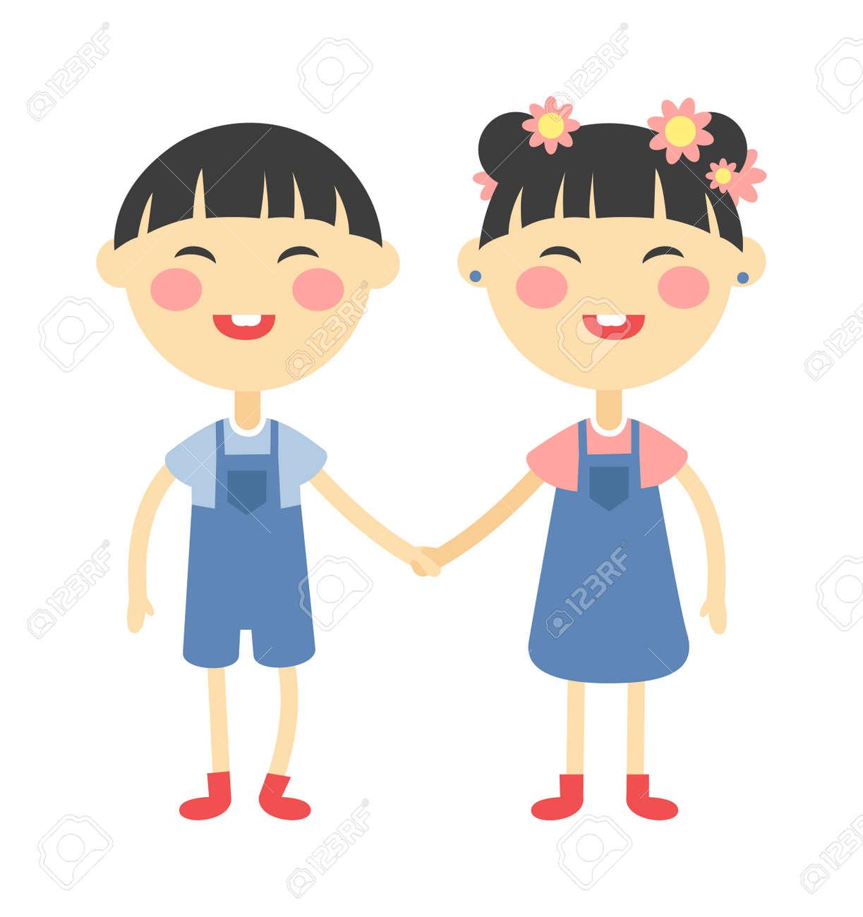 双子の子供手を繋いでいるとかわいい双子の子供一緒に。押し手の男の子と