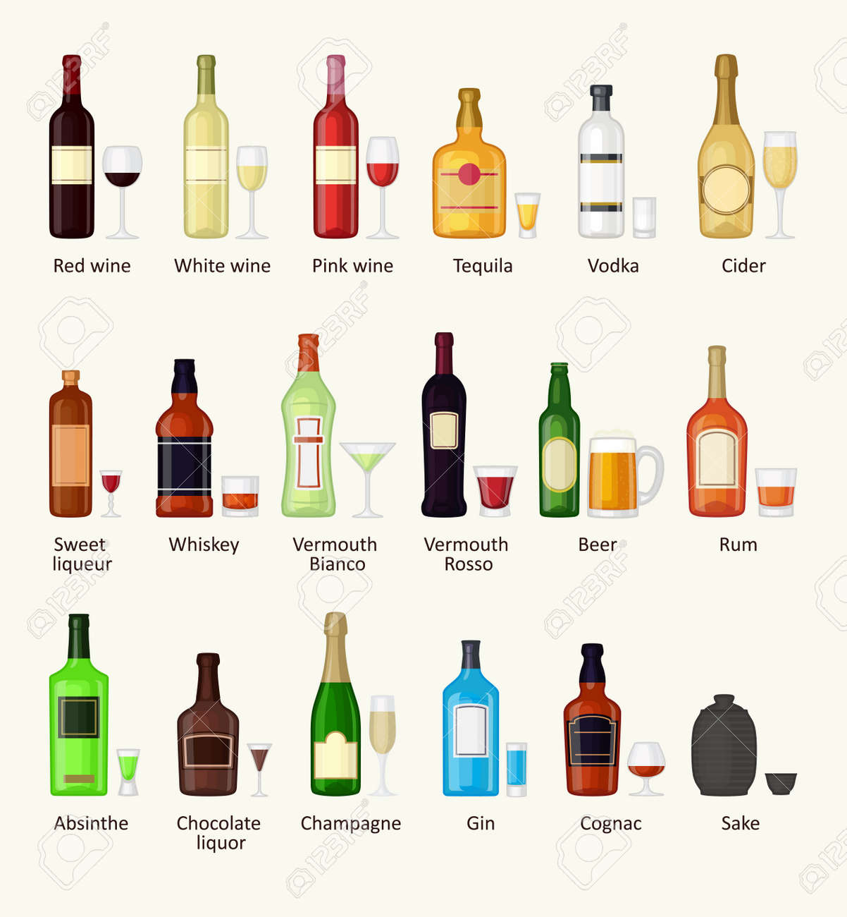 Alcohol drinks beverages and alcohol cocktail whiskey drink bottle lager refreshment container. Alcohol menu drunk concept. Set of different alcohol drink bottle and glasses vector illustration. - 54656739