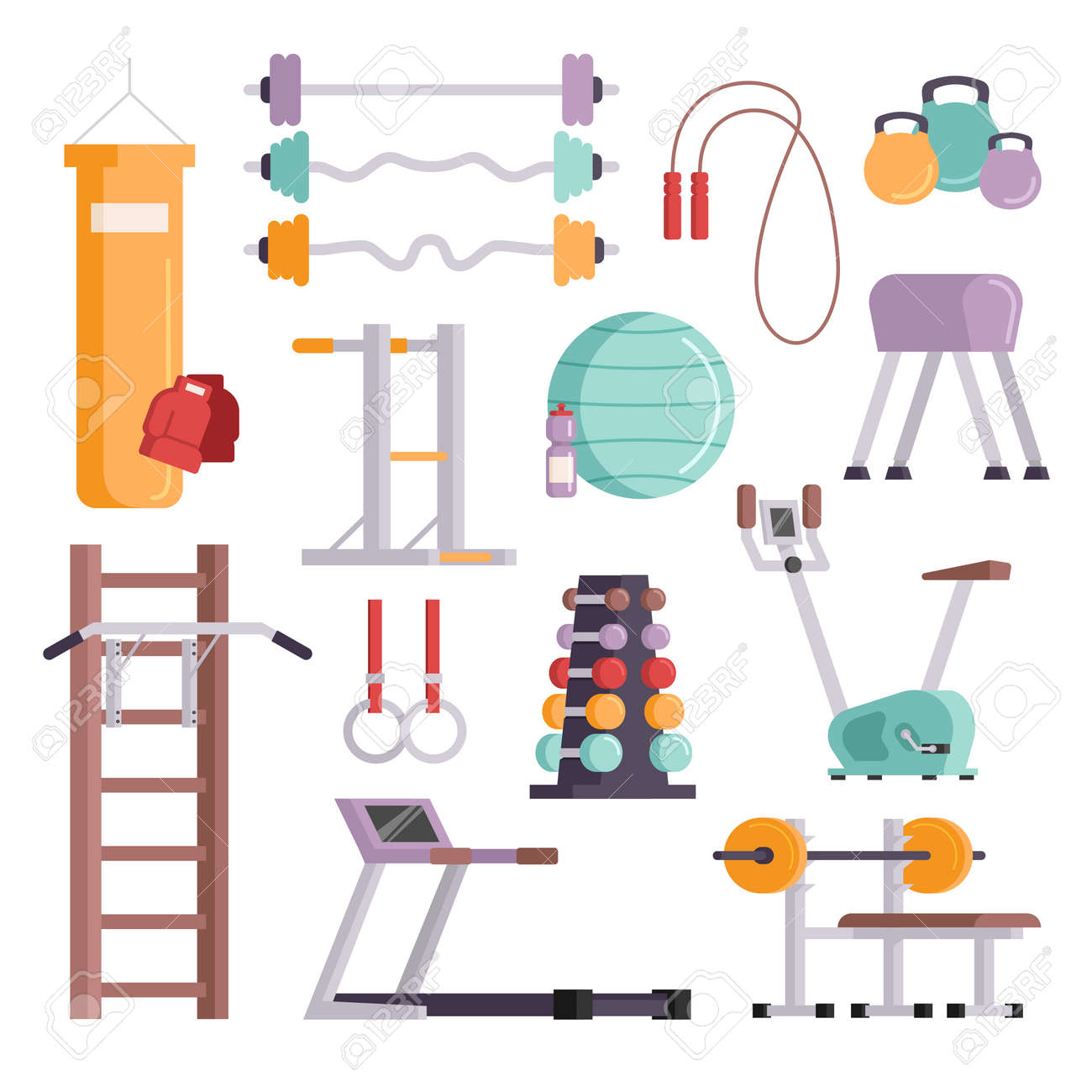 Vector Illustration Of Gym Equipment And Training Body Sport