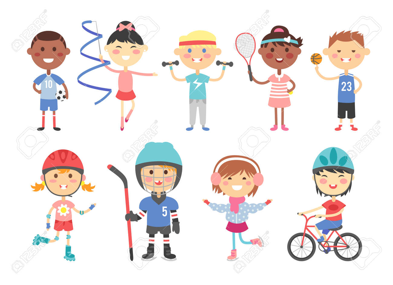 Sport kids characters with toys and sport kids activity group, kids playing various sports games such us hockey, football, gymnastics, fitness, tennis, basketball, roller skating, bike flat vector. - 54707452