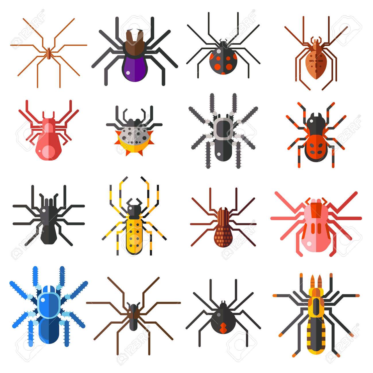 flat spiders cartoon scary symbols and spiders insect flat design