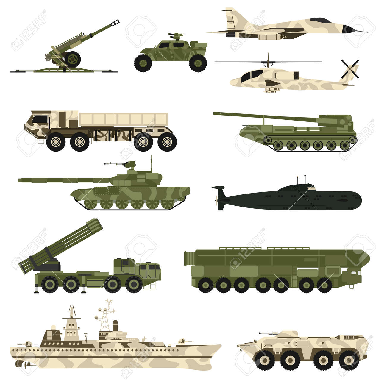 Military technic army, war tanks and military industry technic armor tanks set. Military technic and armor tanks, helicopter, hurricane, missile systems, submarine, armored personnel carriers vector. - 54707460