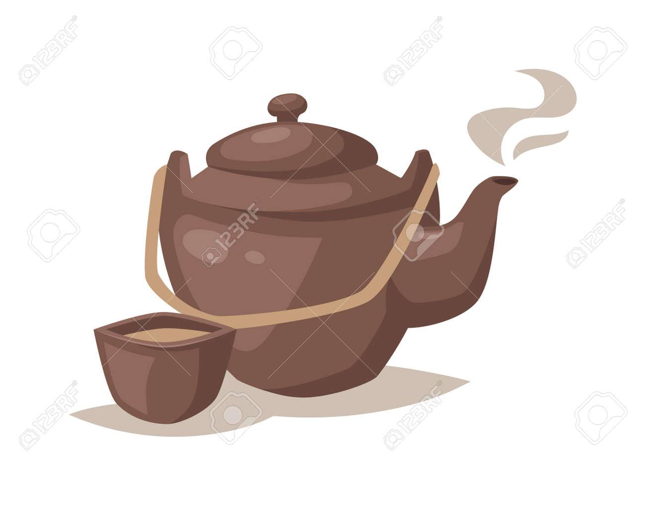 Cartoon Teekanne Cup Und Küche Cartoon Teekanne. Relax Ausrüstung Cartoon  Teekanne Geschirr Set, Sammlung