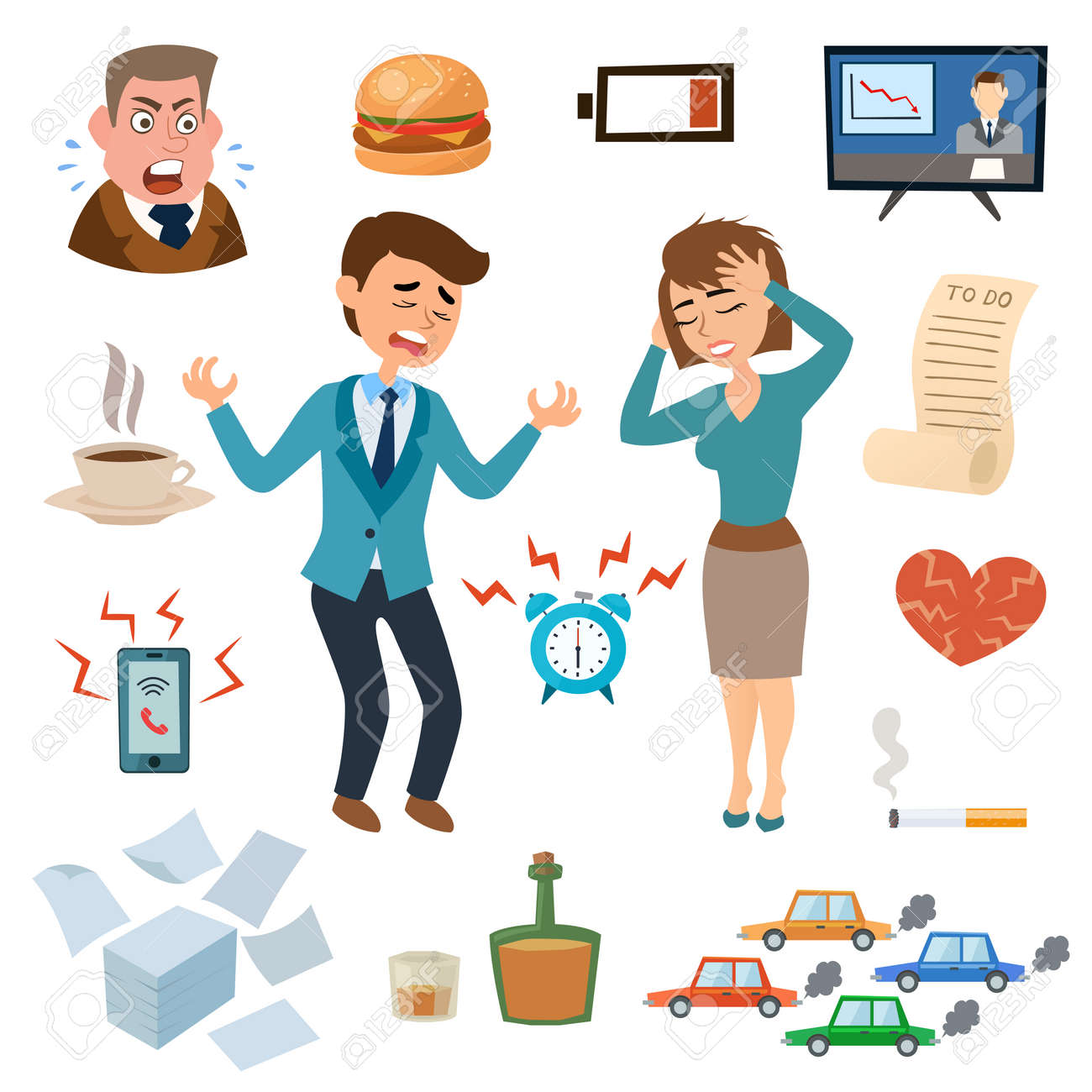 Stress people adult sad and problem stressed people. Stress people frustration overworked worried. Stress people pressure workplace tired unhappy adult sad problem frustration set vector illustration. - 54830376