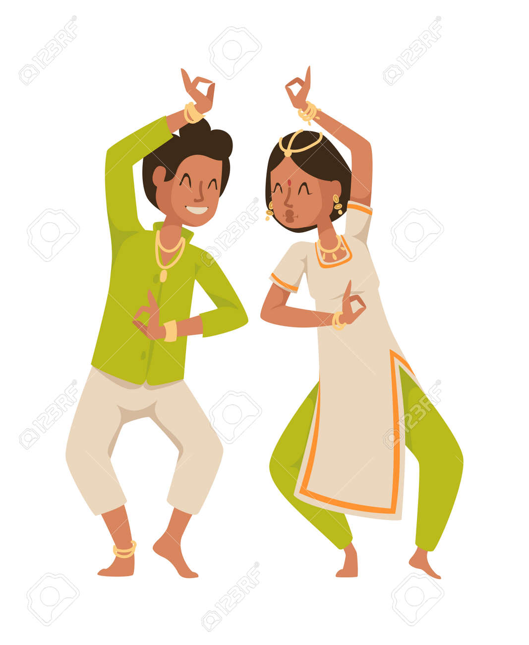 Indian Dancer Silhouette And Indian Cartoon Dancer. Indian Couple ...