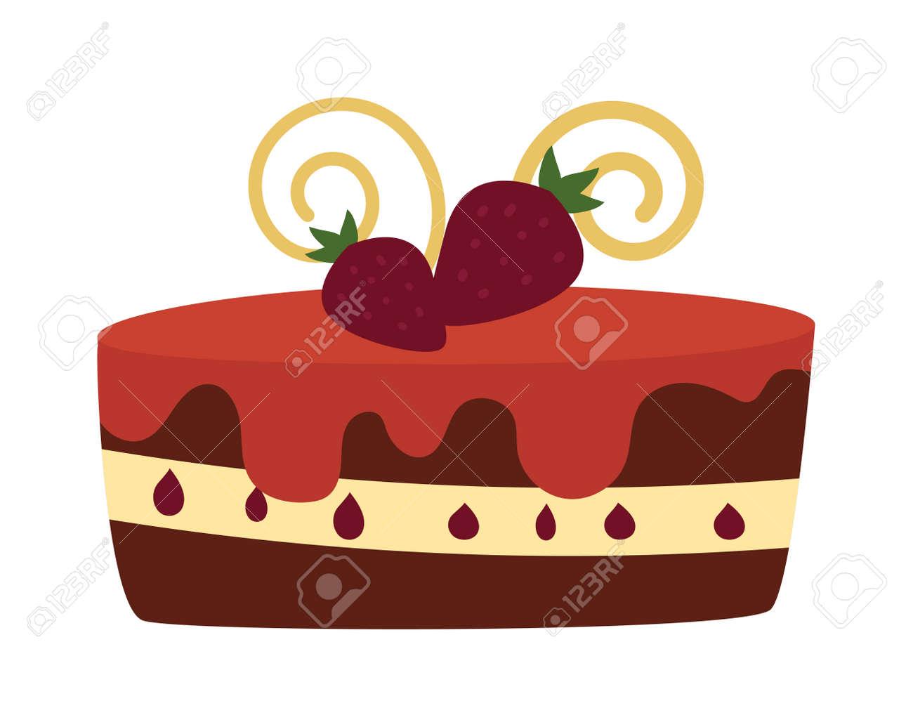 Pie Isolé Avec Des Fruits Et Tarte Au Chocolat Isolé Mariage Ou Gâteau Danniversaire Dessert Sucré Tarte Maison Crème Au Chocolat Gâteau