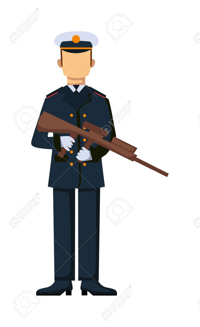 米国軍隊武力男武器イラスト私たちは軍の兵士米国軍隊の迷彩戦闘服で