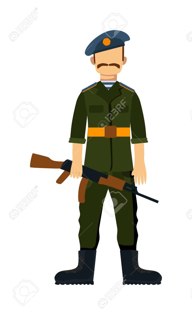 ロシアの軍隊武力男武器イラストロシア軍の兵士迷彩戦闘服でロシアの