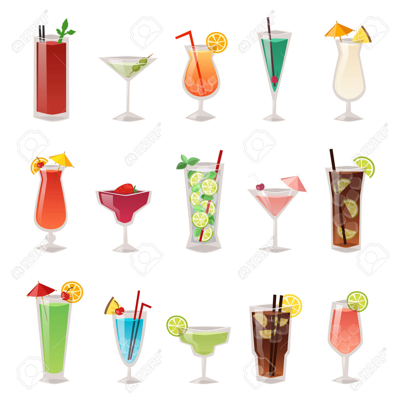 Alcohol drinks beverages and alcohol cocktail whiskey drink bottle lager refreshment container. Alcohol menu drunk concept. Set of different alcohol drink bottle and glasses vector illustration. - 54834740