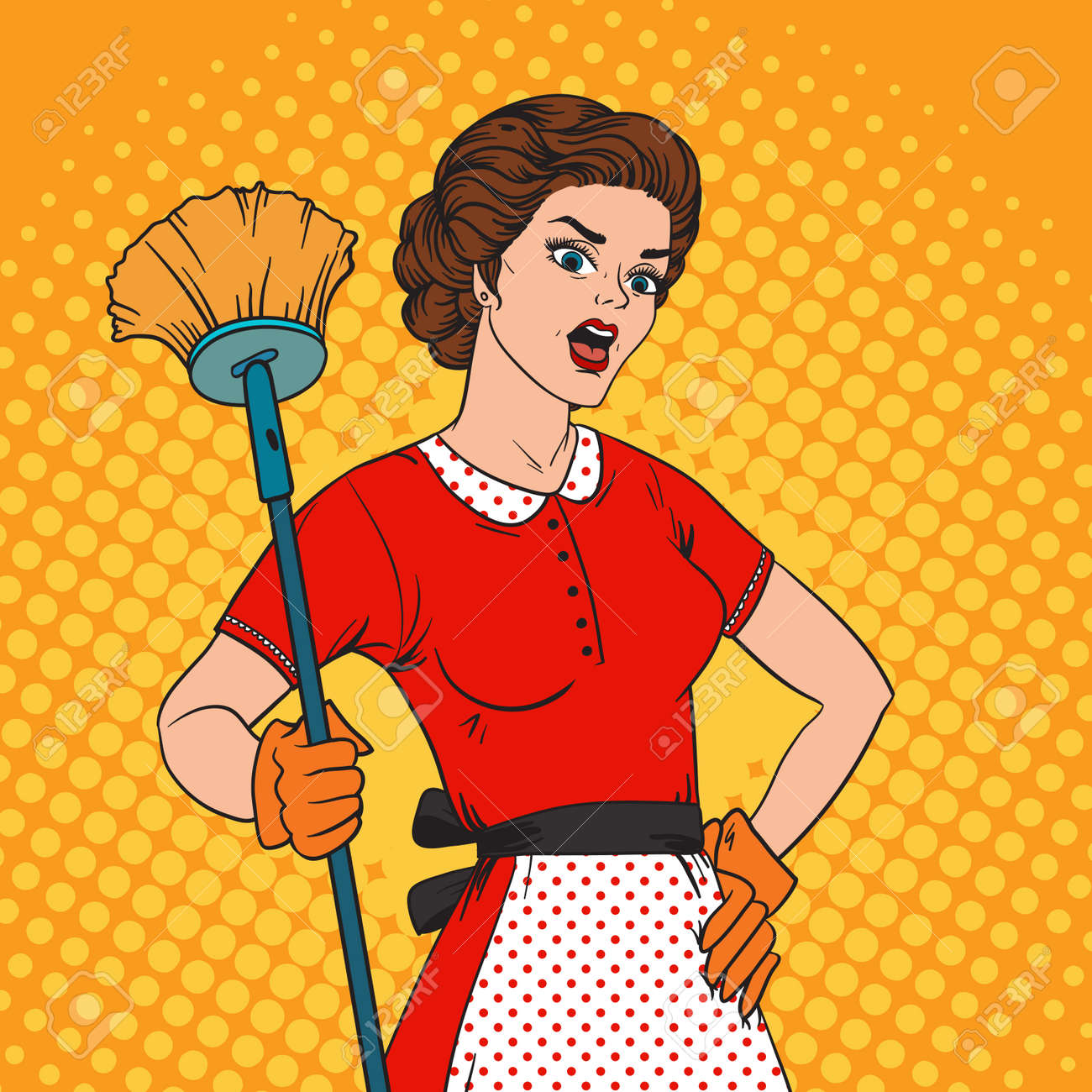 Pop Art woman comic style housewife woman. Cleaning war housewife girl vector illustration. Pop art style housewife girl strong girl. Domestic, kitchen, cleaning service housewife woman - 55177014