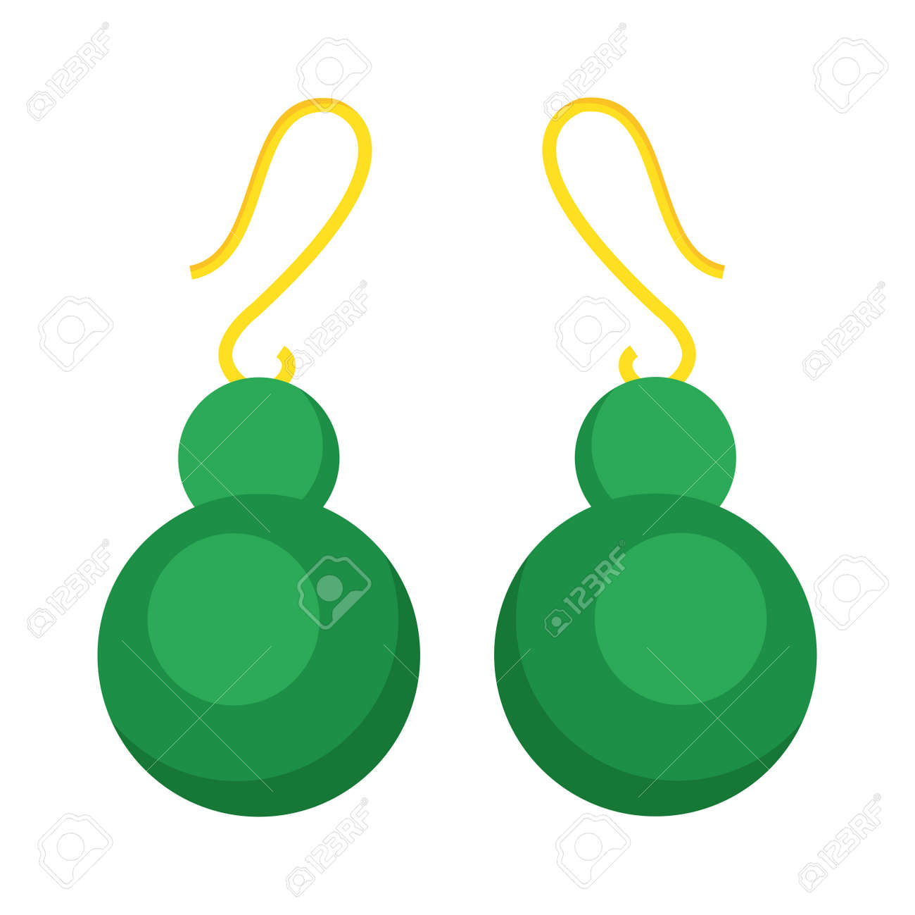 Green Earrings Beautiful Gold Accessory Isolated. Emerald Elegant ...