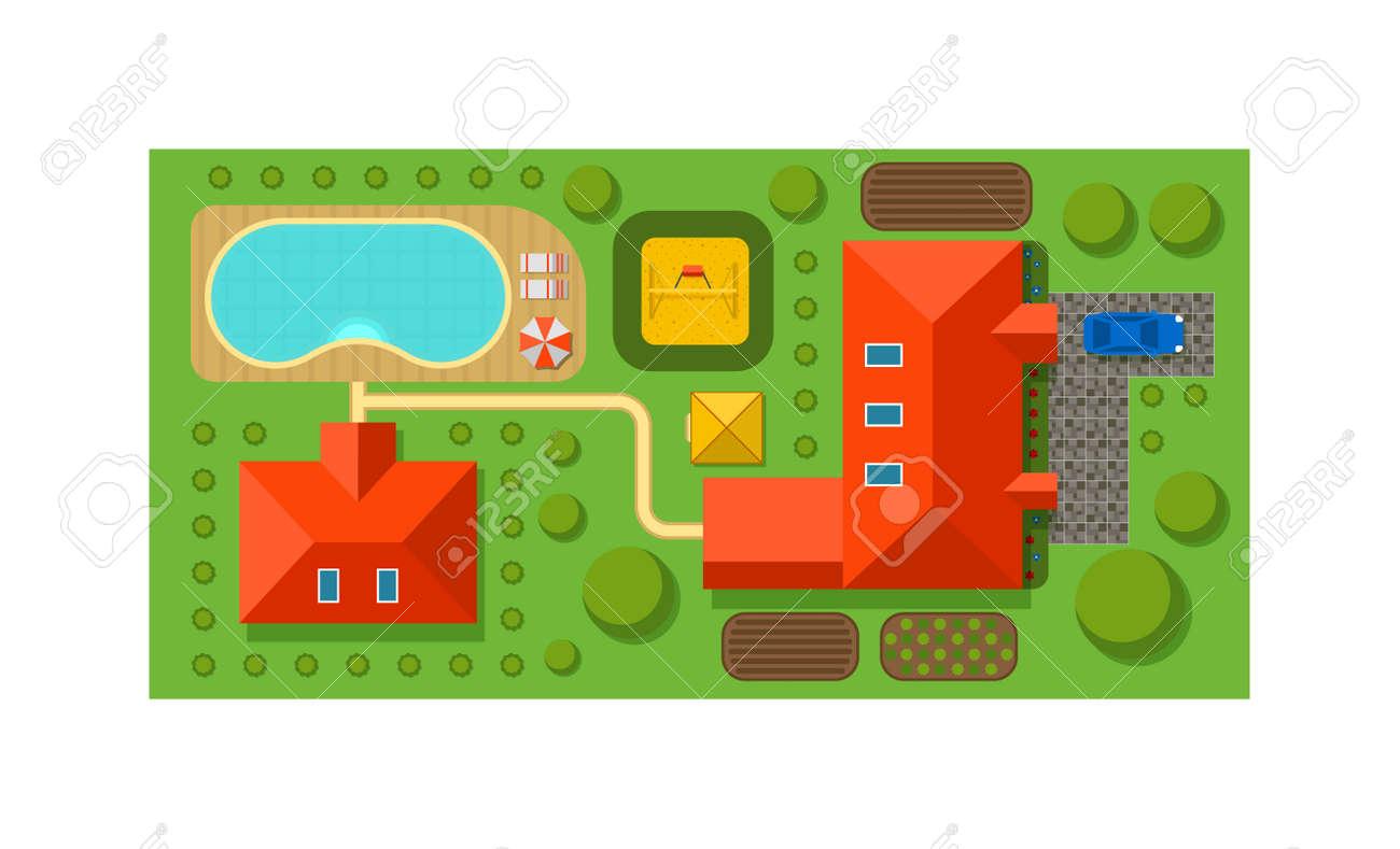 Vektor-Objekte Für Haus Planen Landschaft Design-Elemente Zwischen ...