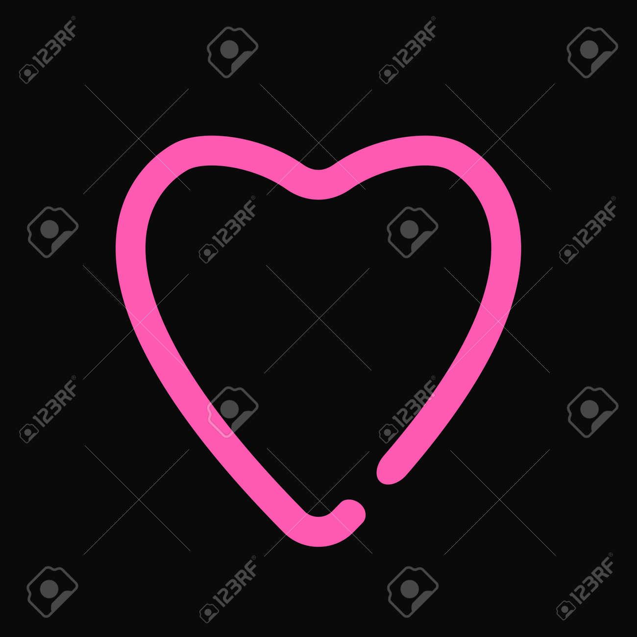 neon heart love symbol light design on the black wall vector