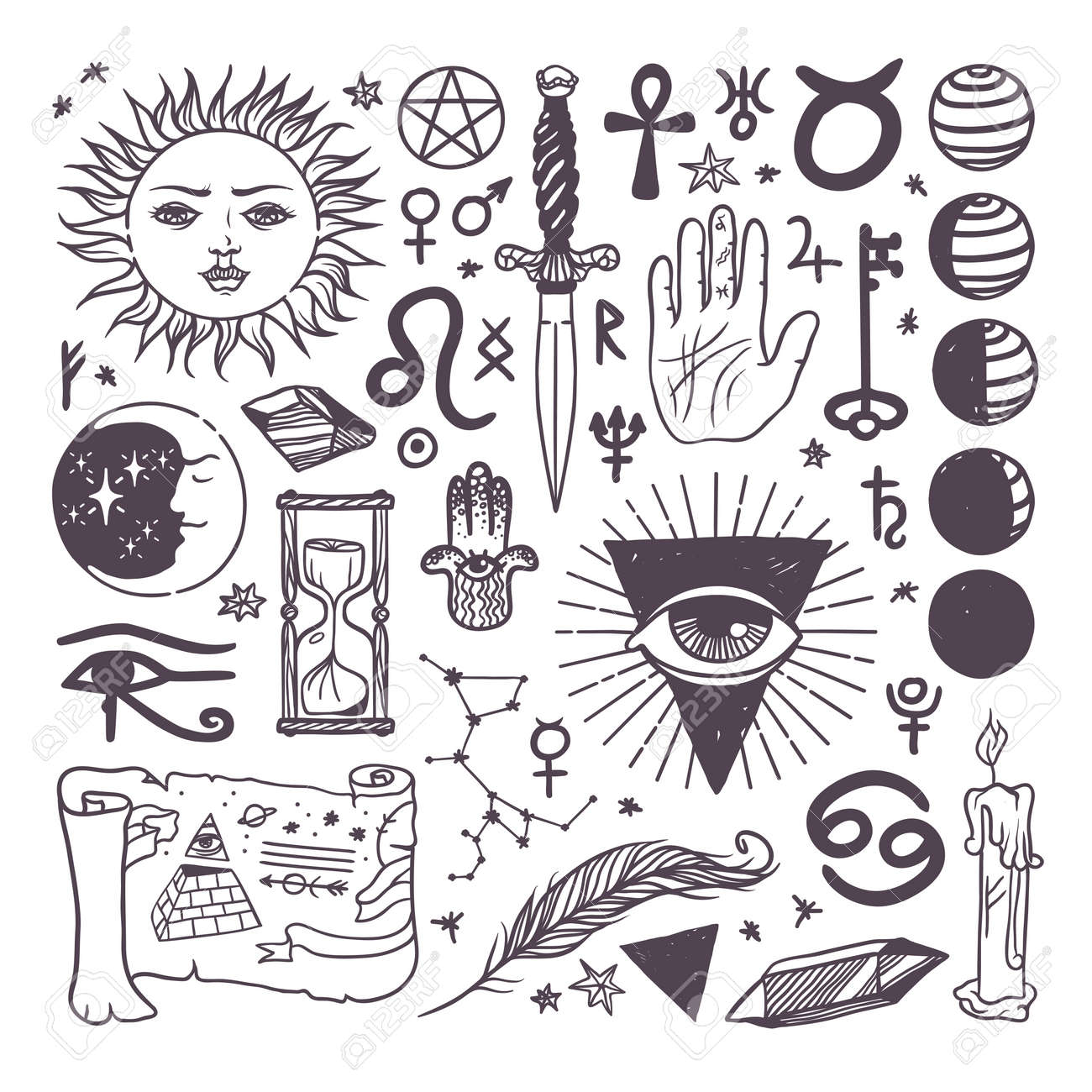 Set Of Trendy Vector Esoteric Symbols Collection Sketch Hand