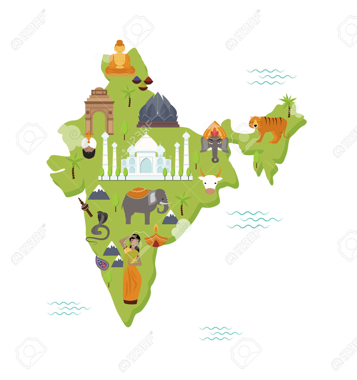 Traditional Symbols Country Travel National Form Map India Flat