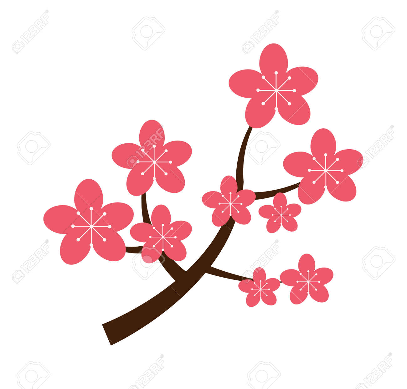 Realistic Sakura Japan Cherry Branch With Blooming Flowers Vector