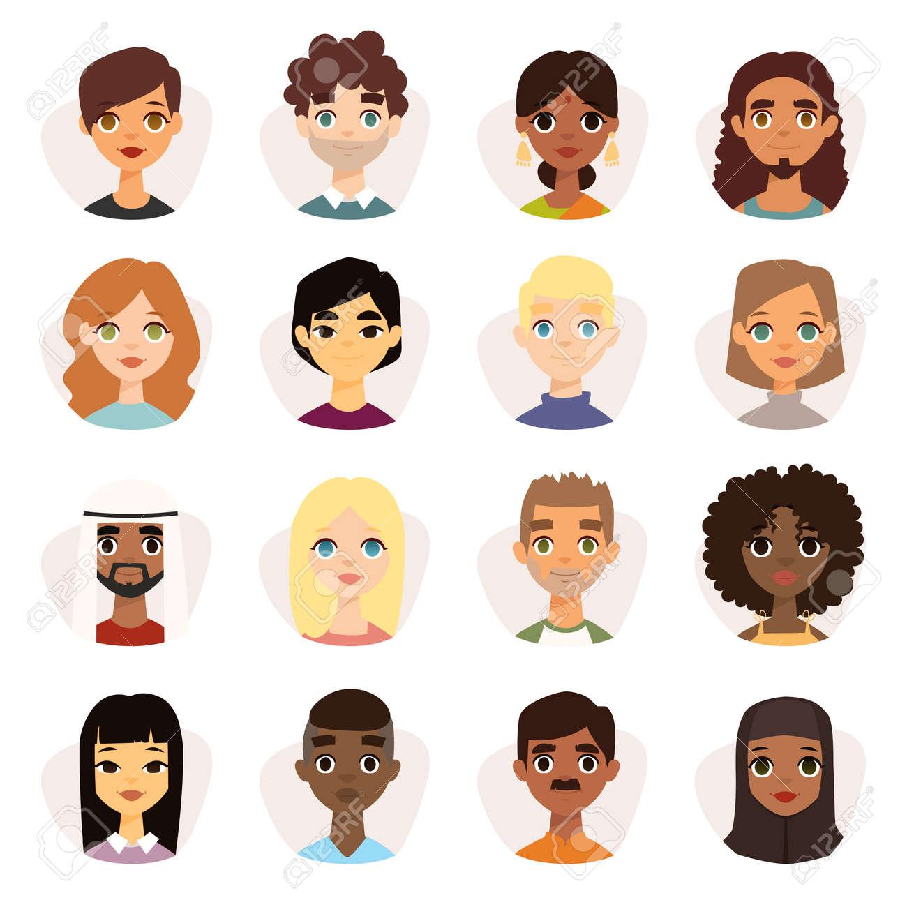 顔の特徴の異なる国籍、服とヘアスタイルで多様なラウンド アバターのセットです。可愛い国籍平らな漫画スタイル顔アバターの異なる国籍の男と女。
