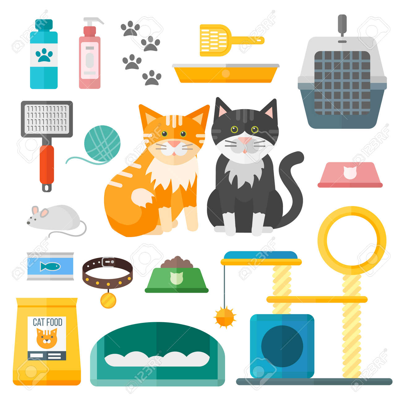 Pet supplies cat accessories animal equipment care grooming tools vector set. Cat accessories and food, domestic feline cat accessories. Cartoon animal kitten safety cat grooming accessory. - 55751359