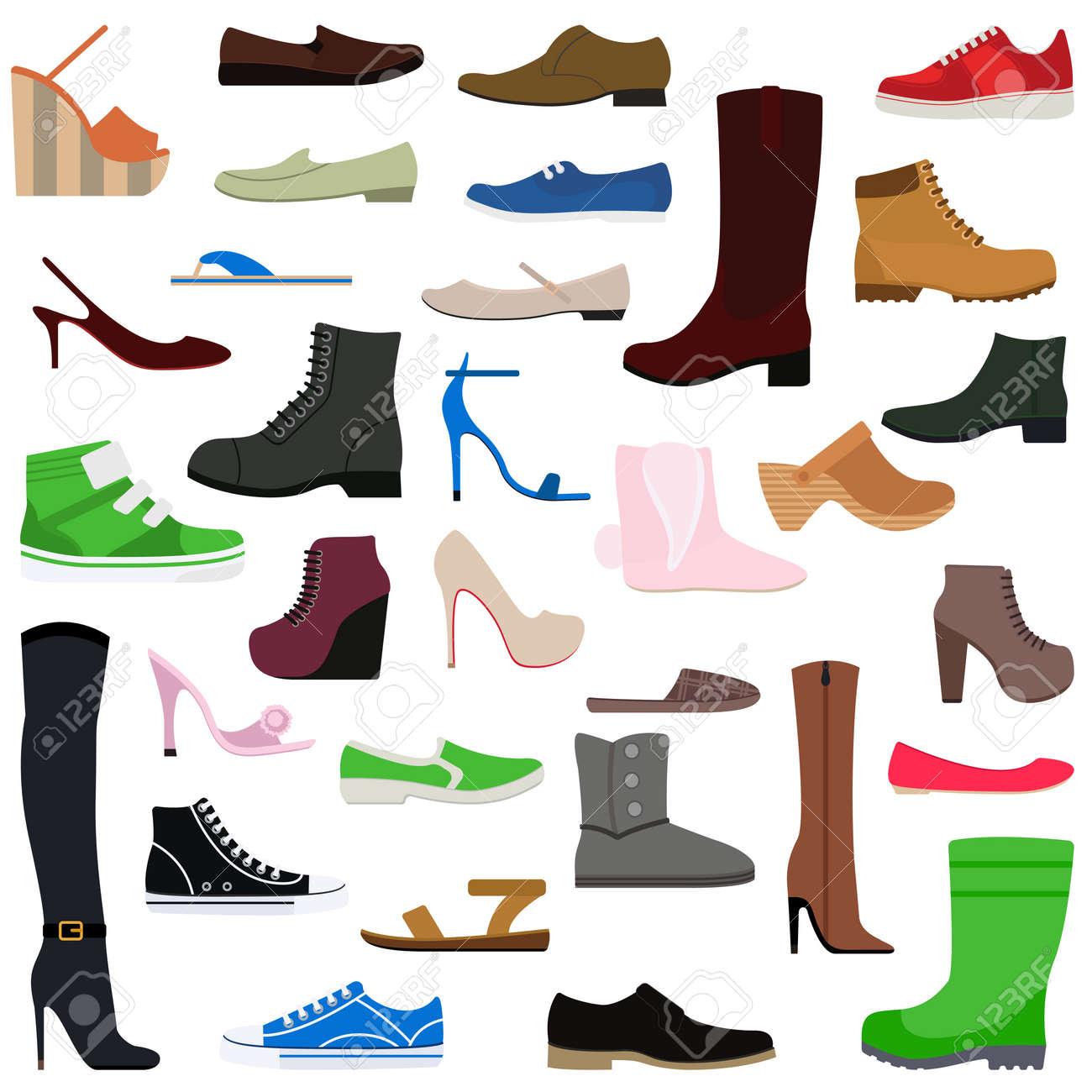 Chaussures femme collection de divers types de femmes vecteur de chaussures illustration isolé. Chaussures isolées chaussures de mode et de chaussures