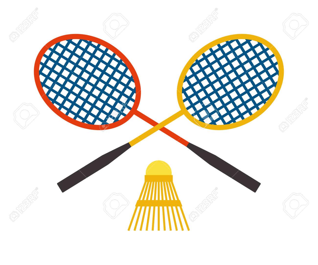 8a6e5649c1255 Banque d'images - Deux raquette de badminton et le volant jeu de sport  compétition de loisirs vecteur plume de fitness. Action badminton sport et  jeu loisir ...