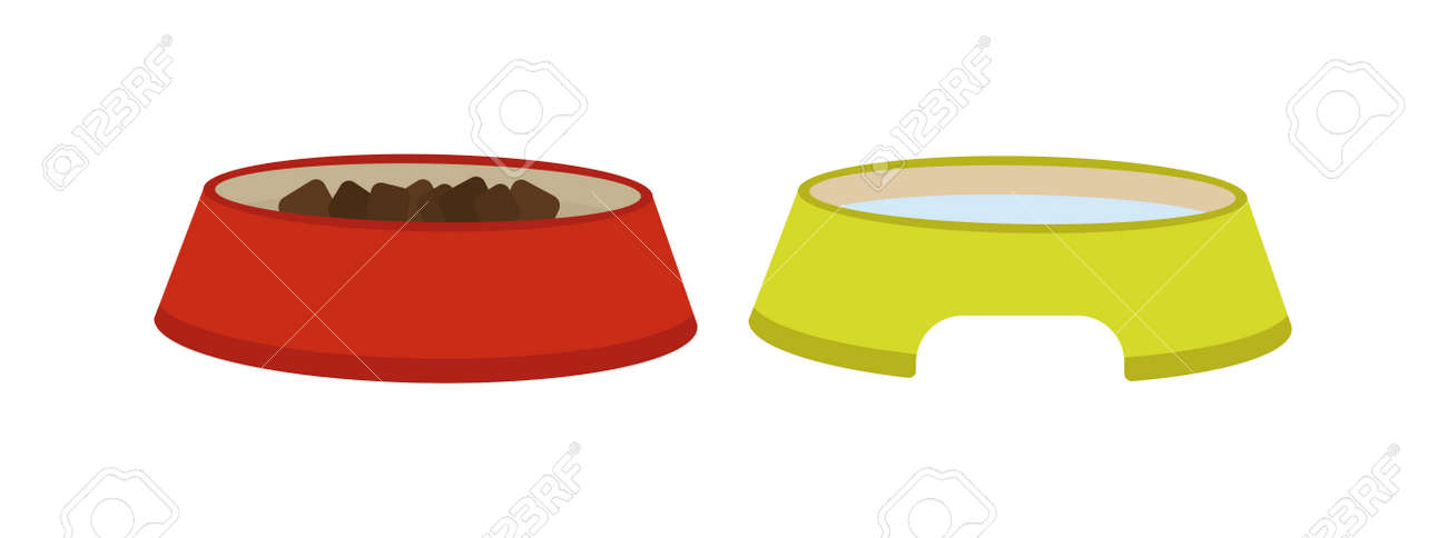 Dog Dish Food In Bowl Animal Feed Meal Canine Snack Plate Vector ...