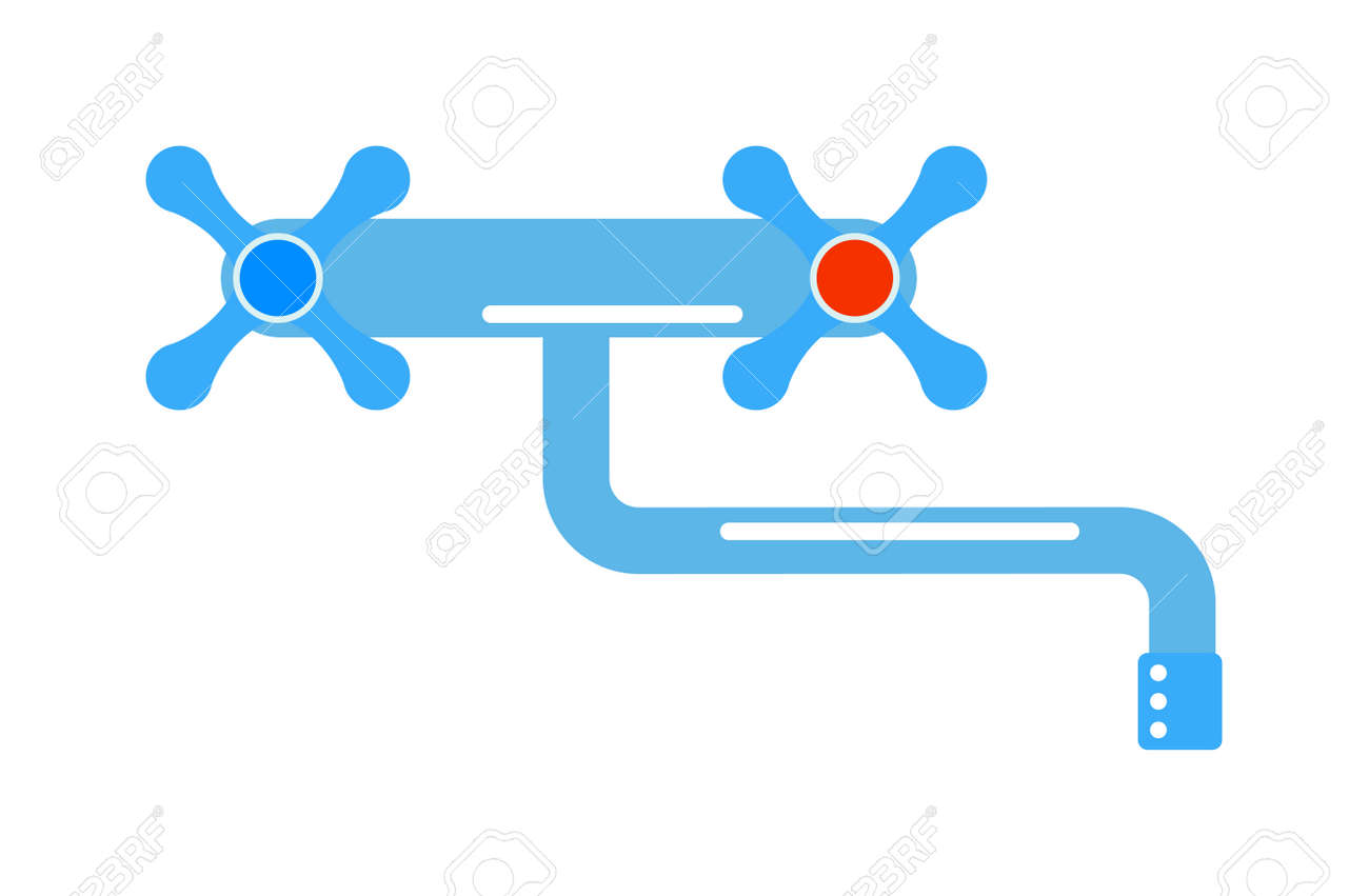 Dripping Tap Drop Water Faucet Vector Illustration. Icon Of ...