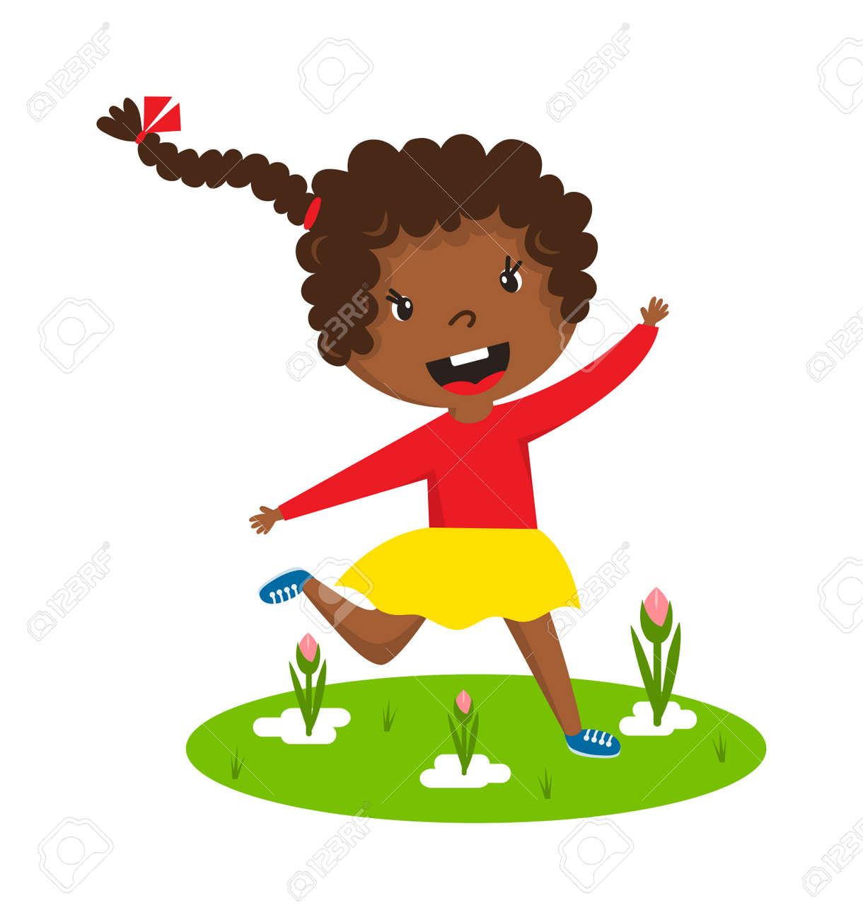 Cute Running Black Afro Girl With Curly Frizzy Hair On Green Royalty Free Cliparts Vectors And Stock Illustration Image 55893195