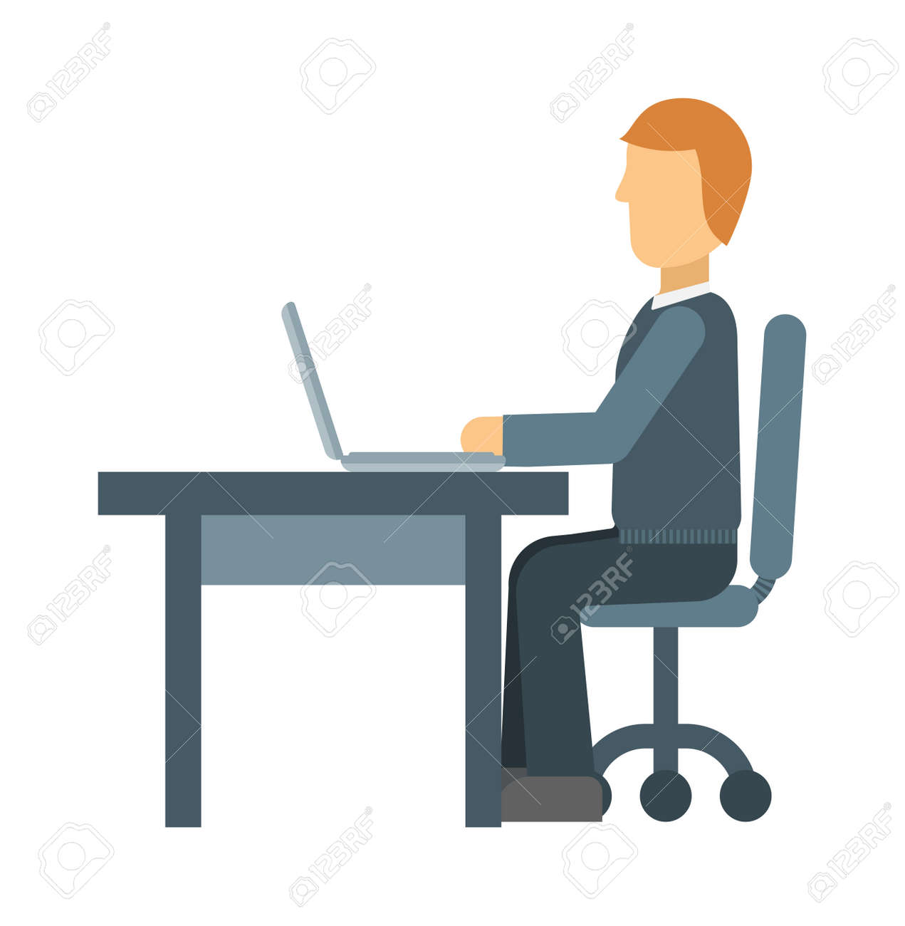 Office Working On Desktop Computer Team Group Person Businessman Vector Worker And Personal