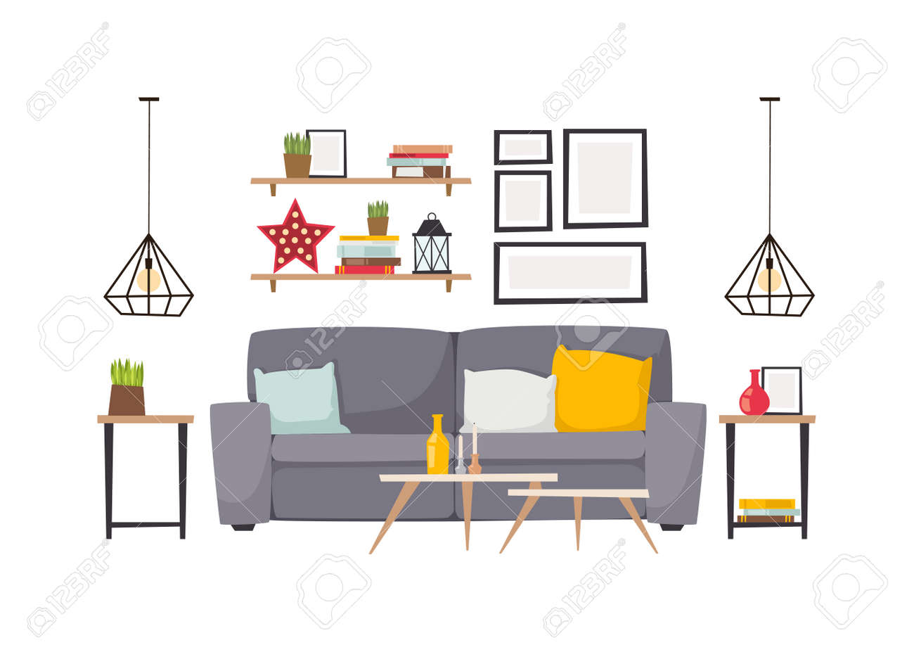 Stylish Living Room Apartment Interior With Grey Sofa And Small