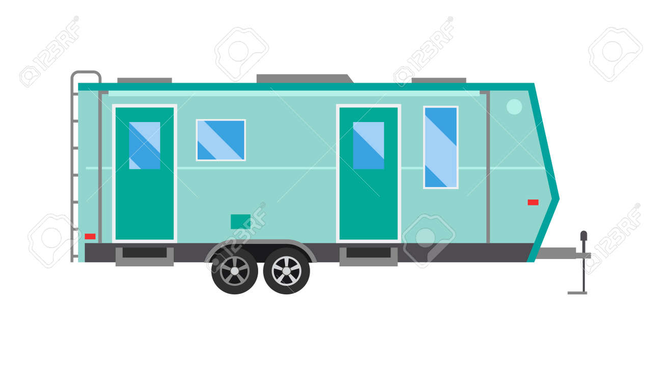 Old Camping Trailer House Standing Summer Day Nature Holiday Concept