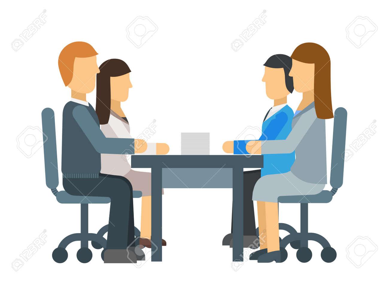 Lavoro Ufficio Clipart : Incontro di lavoro in un caffè incontro di lavoro illustrazione
