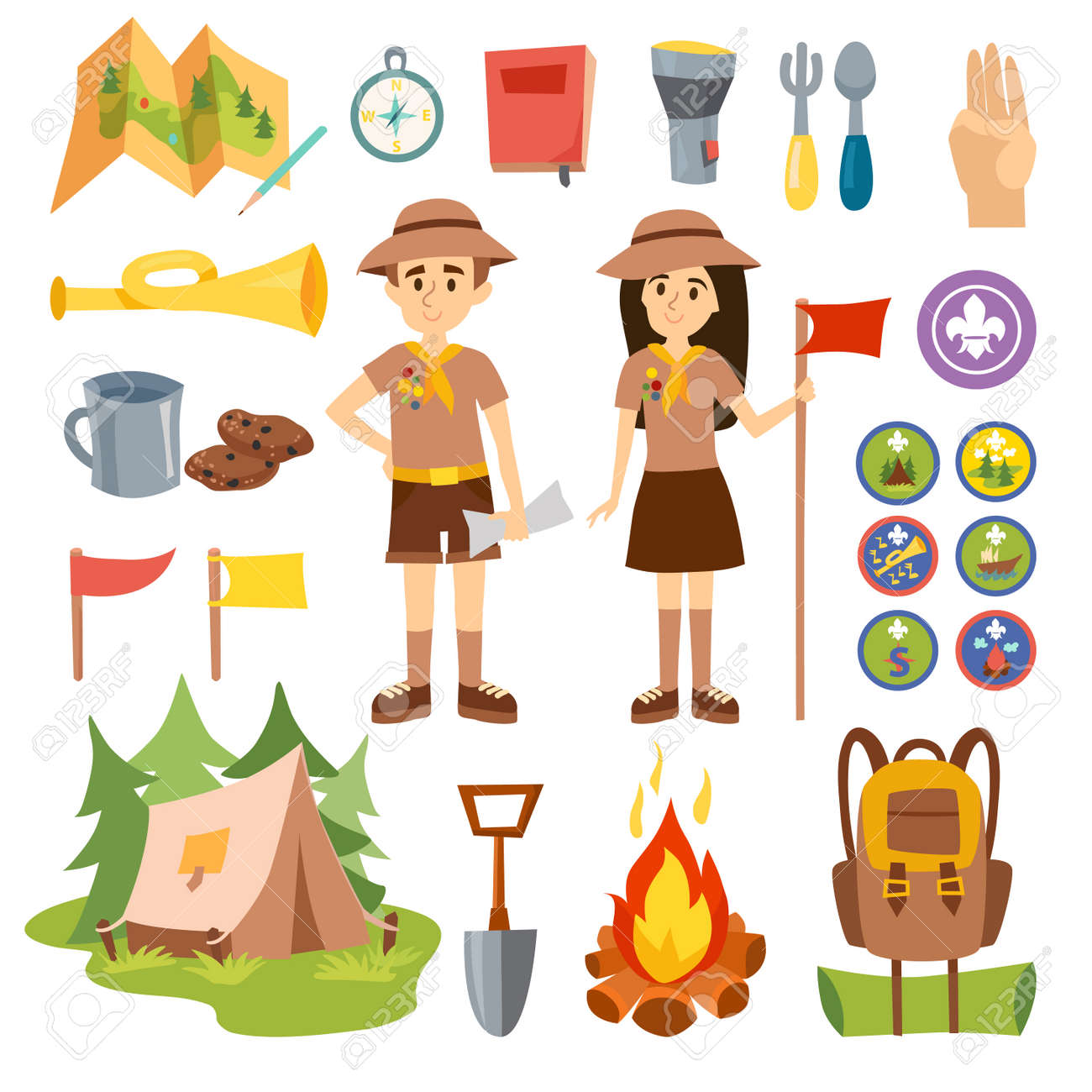 Set Of Camping Equipment Symbols And Boy Scouts Icons Vector Outdoor