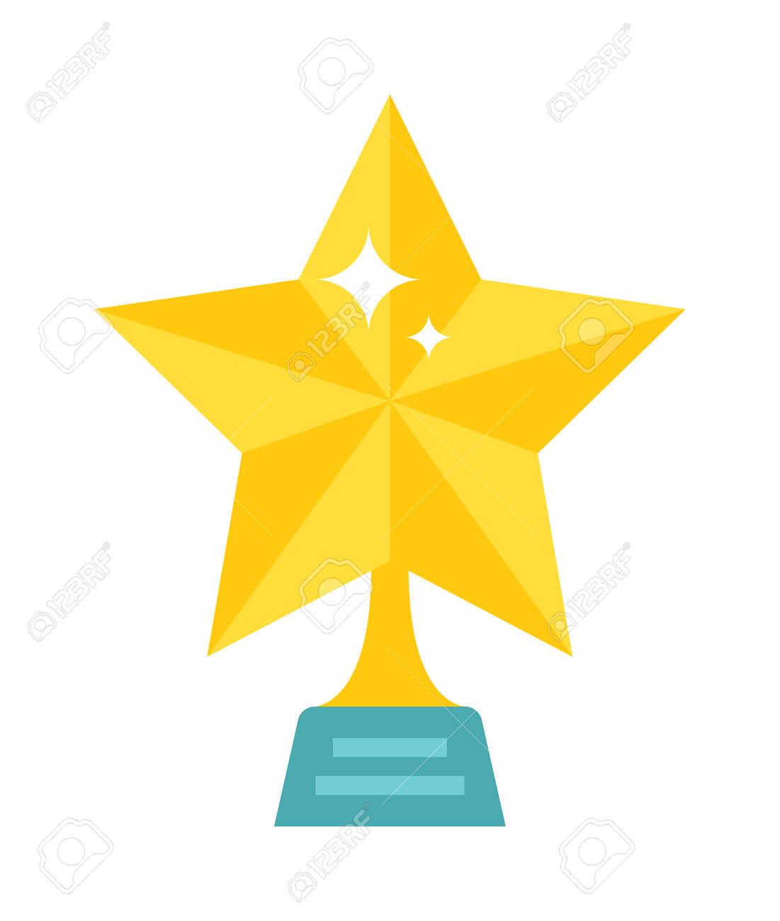 gold star award on blank metal trophy isolated star award golden rh 123rf com