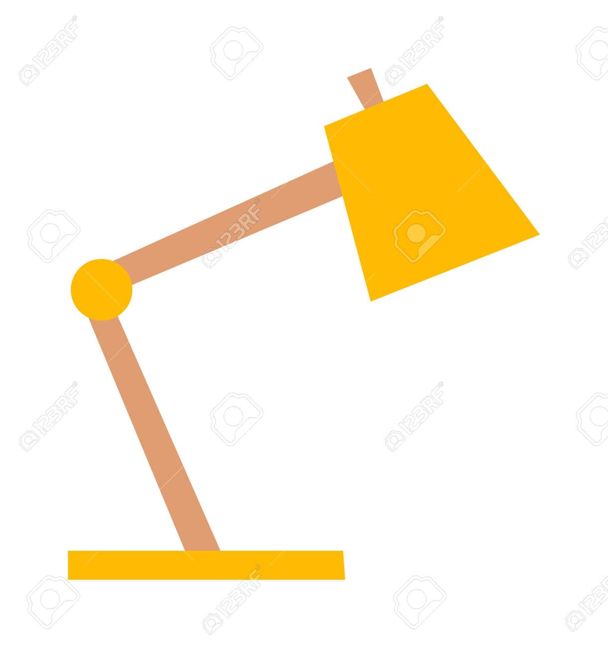 Sur Lampe Jaune De Conception Électrique Isolé ClairObjet Bureau Et BlancVecteur L'énergie Fond La rexCdBo