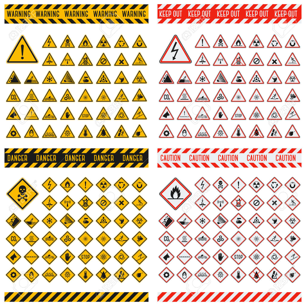 Triangular warning hazard symbols. Big set danger sign vector illustrator. Danger sign safety warning collection and risk caution stop danger sign. Security toxic yellow triangle sign. - 56523645