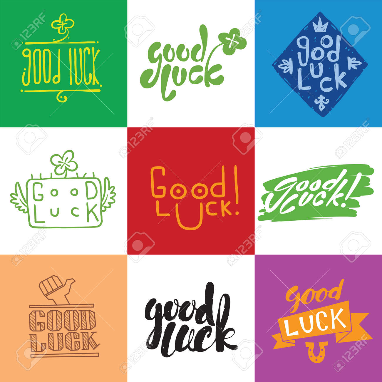 Good Luck Vector Hand Lettering Greeting Backgrounds Good Luck