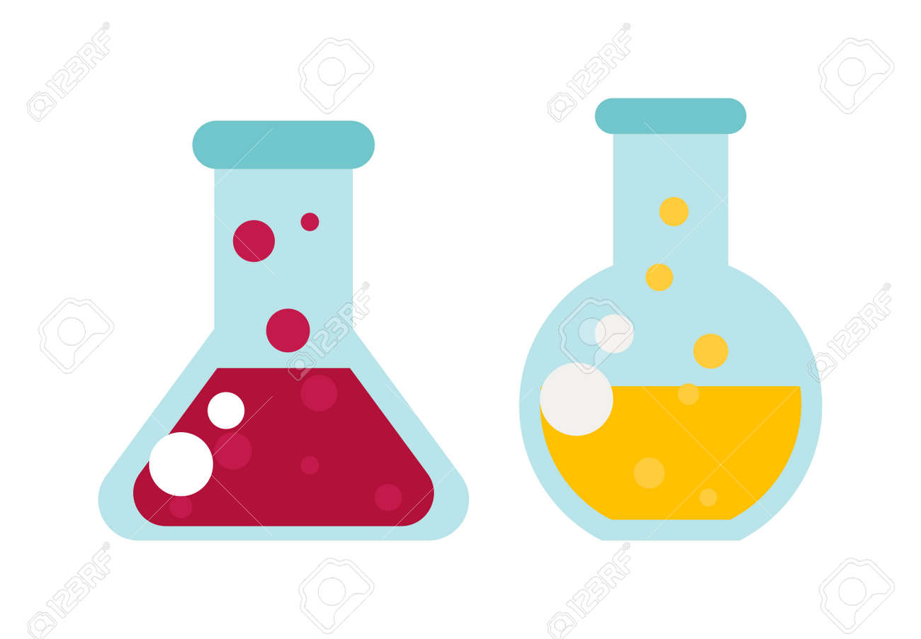 Chemical Laboratory Transparent Flasks With Color Liquid Flask Vector And Glass Science