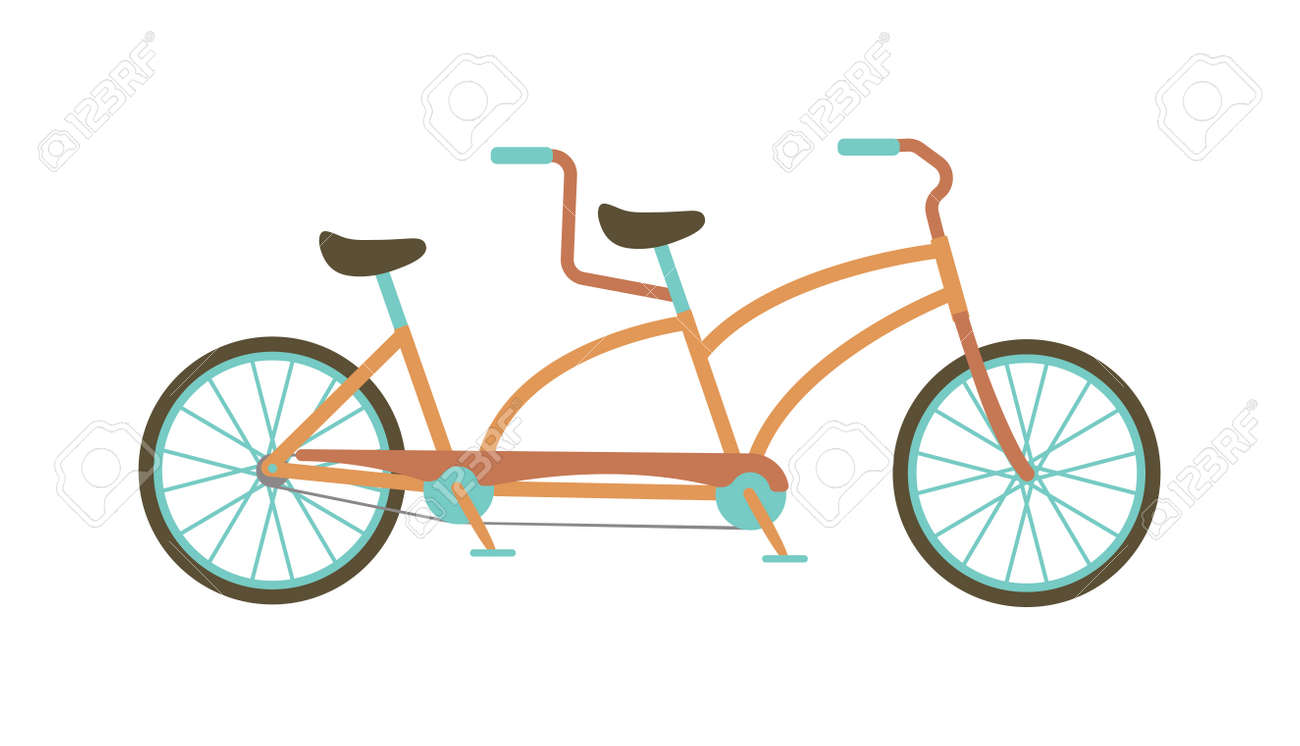 vintage illustration of tandem bicycle over white background rh 123rf com tandem bicycle clipart tandem bicycle clipart free