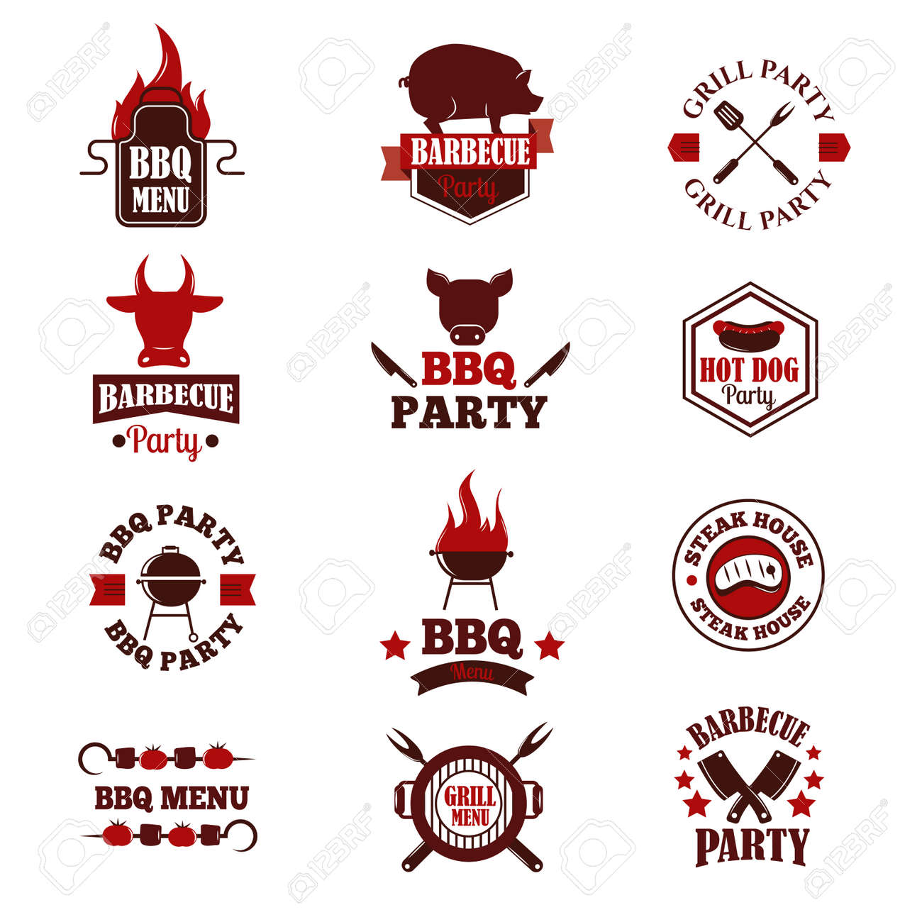 Barbecue Logo And Grill Labels Badges Logos And Emblems Set