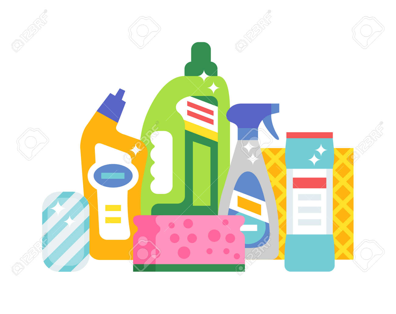 House Cleaning Hygiene And Cleaning Products Flat Vector Icons Set