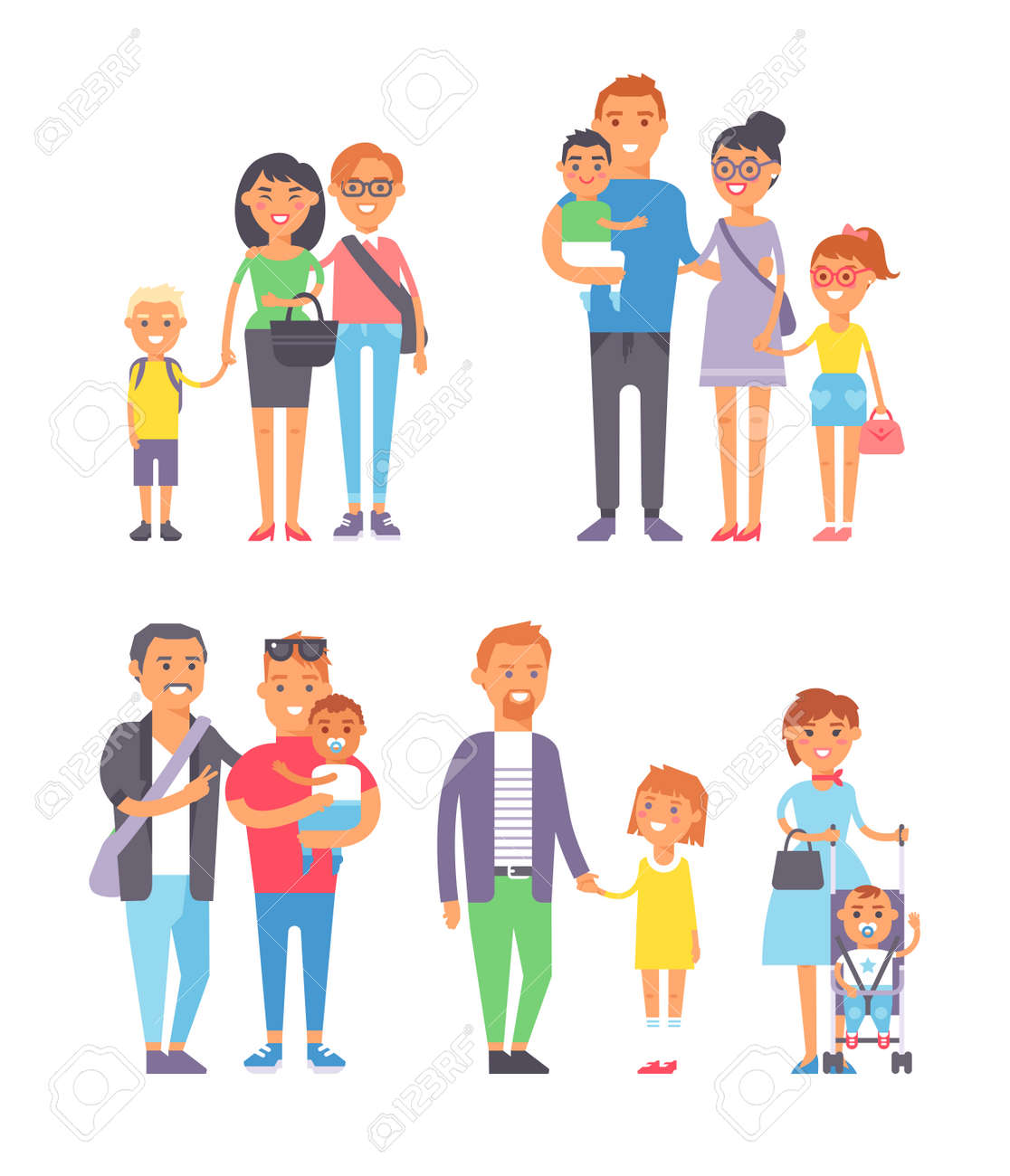 Large group of people and family people vector character set