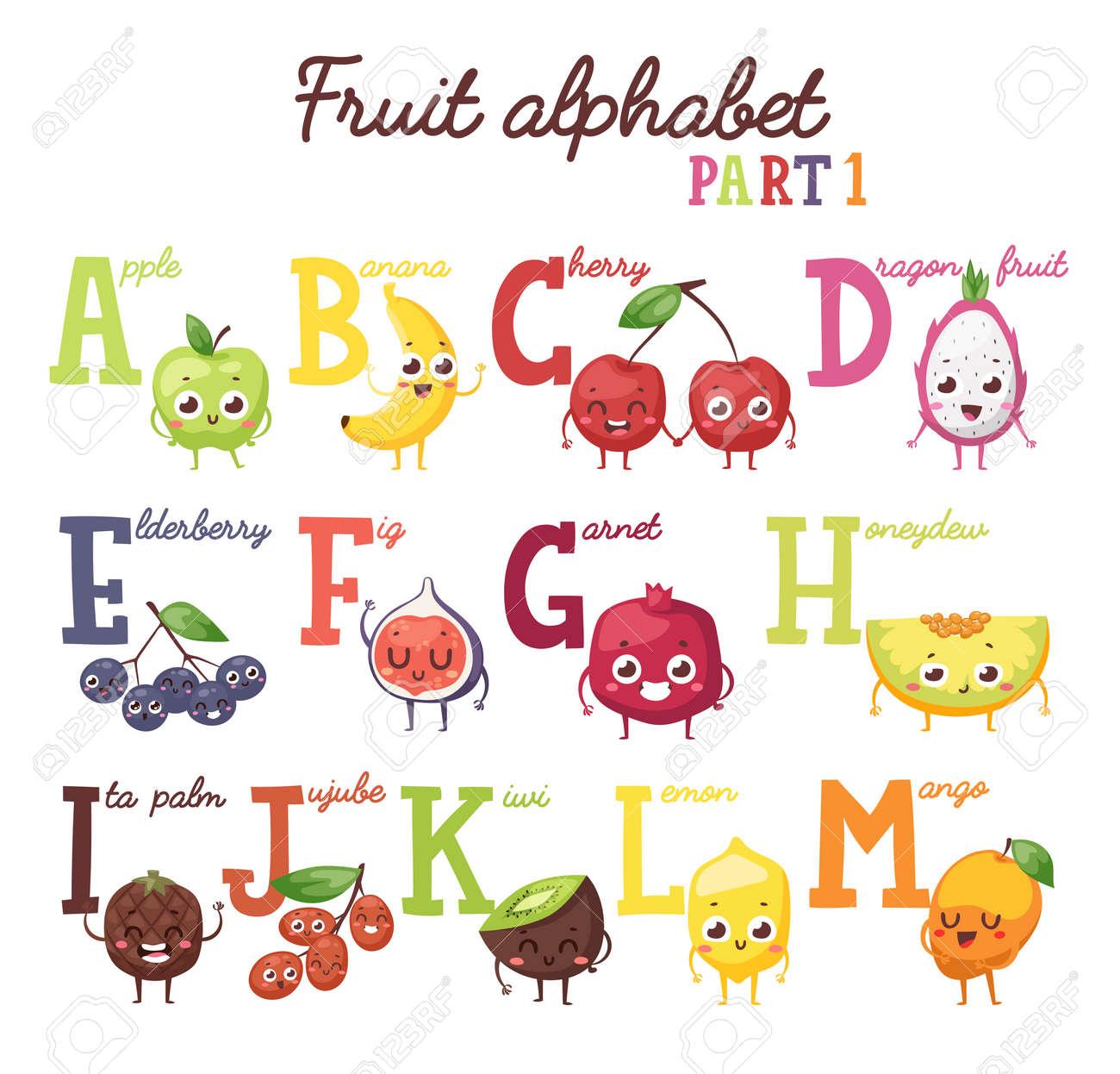 Alfabeto De Fruta Inglés Alfabeto De Frutas Y Frutos De Capital Alfabeto Letra Mayúscula Con Frutas Alfabeto De Frutas Primera Parte Y El Alfabeto